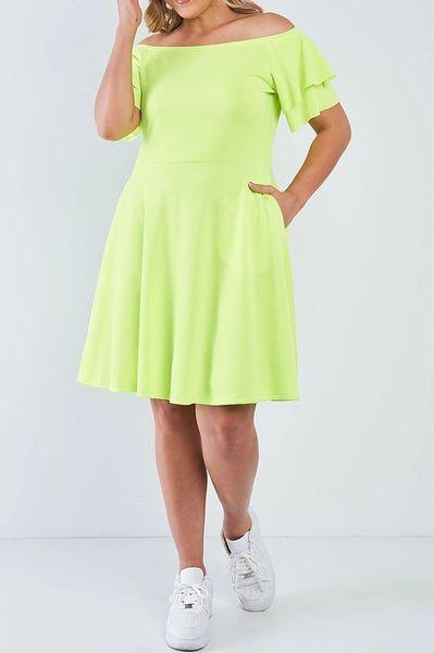 Breezy Lime Off-Shoulder Dress