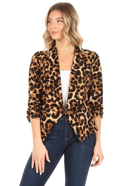 Cheetah Shawl Collar Blazer