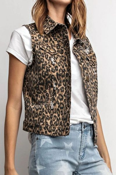 Distressed Leopard Vest