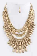 Gold Ethnic Tiered Necklace and Earrings Set