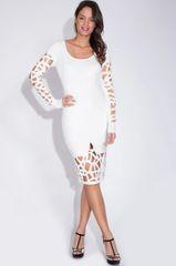White Lazer Cut BodyCon Sheath Dress
