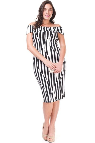 Off-Shoulder Stripe Zone Midi Dress
