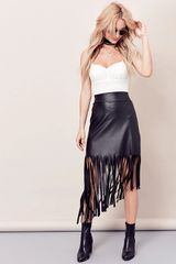 Fringe Hem Faux Leather Skirt