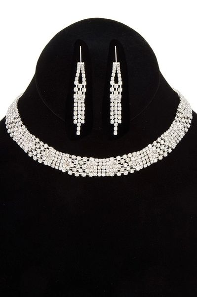 Silver Pave Collar Necklace Set
