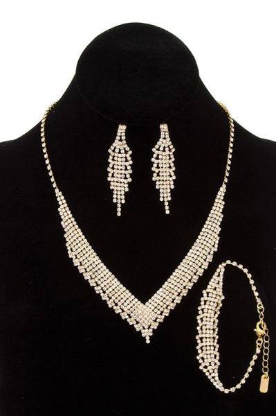 Gold Pave Rhinestone V-Shape Necklace Set