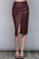 Oxblood Surplice Pleather Skirt