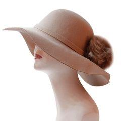 Faux Fur Pom Pom Floppy Hat
