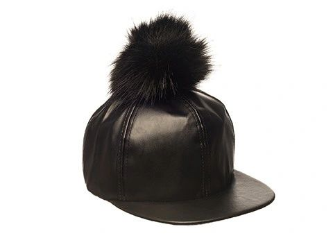 Faux Leather Pom Pom Cap