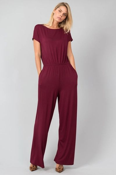 Wine Full Length Jumpsuit with Pockets