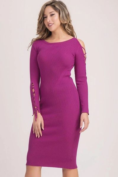 Open Shoulder Laced Sleeve Midi Dress