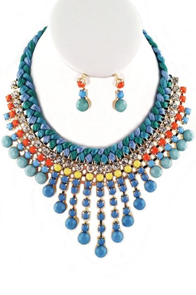 Teal Multi Stone Bib Necklace Set