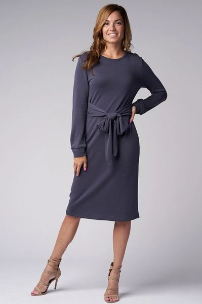 Blue Brushed Knit Sweater Dress