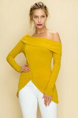 Mustard Off-Shoulder Tulip Front Top