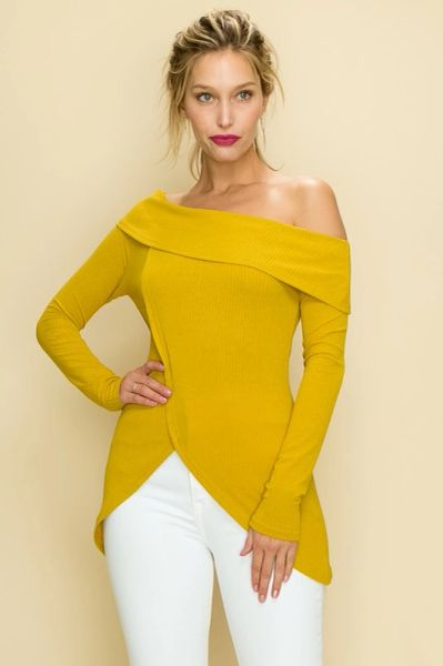 Mustard Off-Shoulder Tulip Front Top