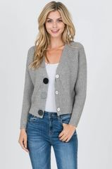 Gray Cropped Knit Cardigan