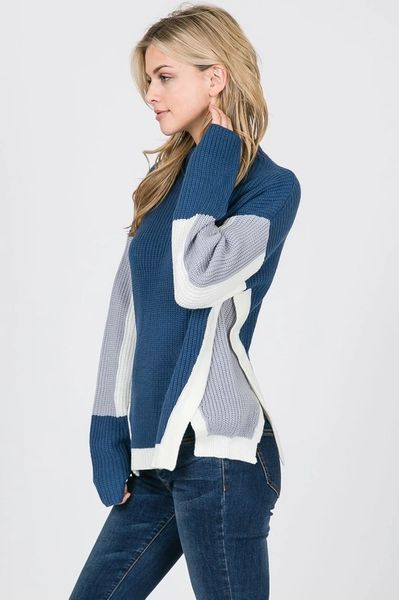 Slate Blue Colorblock Sweater