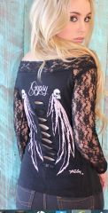 Gypsy Skulls Off Shoulder Lace (Black)