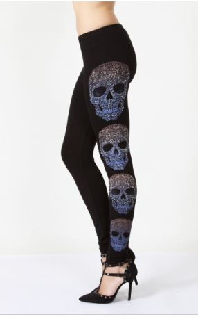 Skull leggings with rhinestones