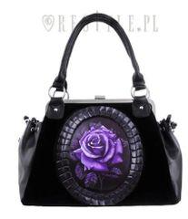 Black Velvet Gothic Romantic Purple Rose Handbag