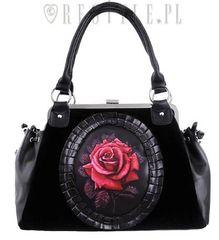 Black Velvet Gothic Romantic Red Rose Handbag