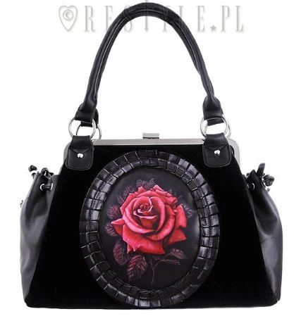 Black Velvet Gothic Romantic Red Rose Handbag
