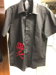 Men's Black Short Sleeve Dress Shirt