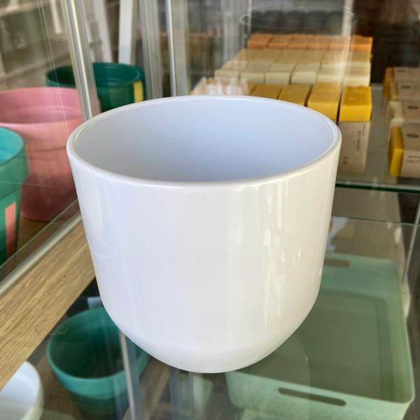 White Ceramic Plant Pot - Fits 12cm Plant