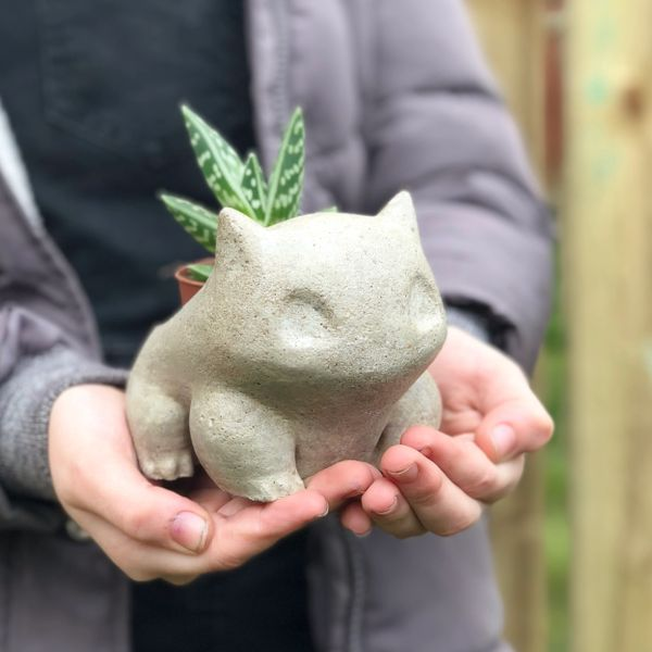 Bulbasaur Concrete Planter | Cactus Pot | Succulent Pot | Air Plant Holder | Houseplant Pot