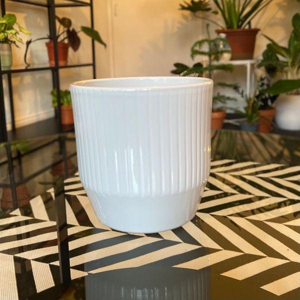 WHITE Ceramic Glazed Pot 12cm