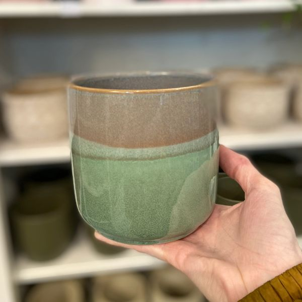TEAL/GREY TONED - Ceramic Glazed Pot 12cm