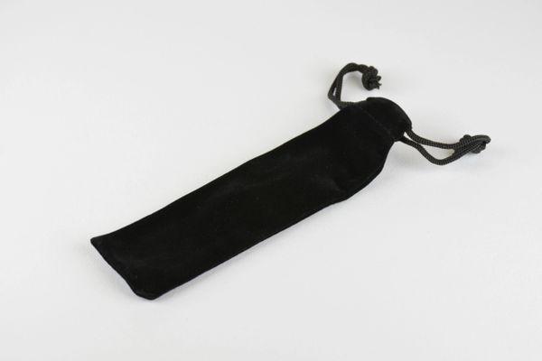 Black velvet drawstring pen pouch, longer size.