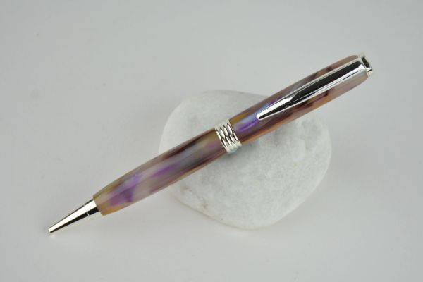 Streamline ballpoint pen, lavender and ochre, silver plated