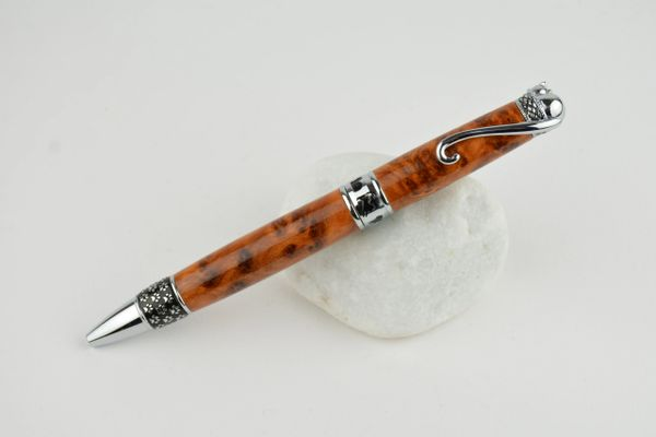 Cat ballpoint pen, thuja burr wood, chrome