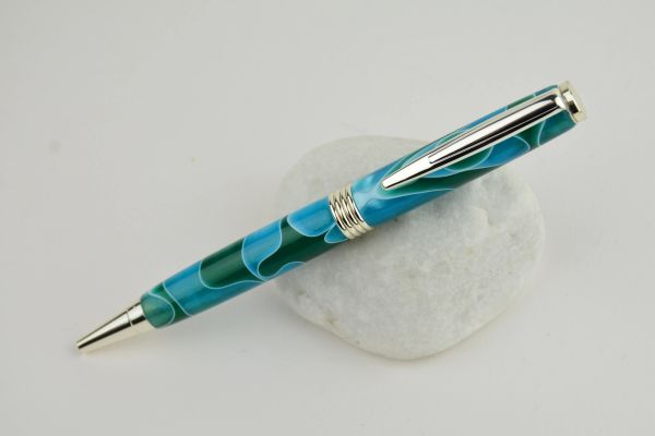 Streamline ballpoint pen, turquoise acrylic, silver plated