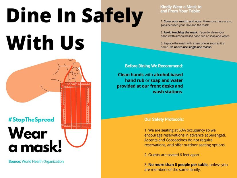 Infographic of how to dine in safely with protocols