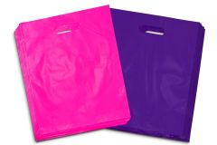 "100 - Heavy Duty Purple and Hot Pink Glossy Merchandise Bags, Shopping Bags, 12"" X 15"" with Die Cut Handle, No Gusset, 2.0 Mil. …"