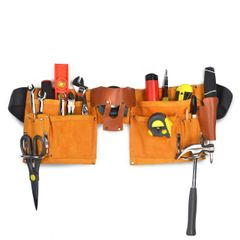 New & Improved Quality, 11 Pocket Leather Construction Tool Belt, Work Apron, with Adjustable Poly Web Belt Quick Release Buckle
