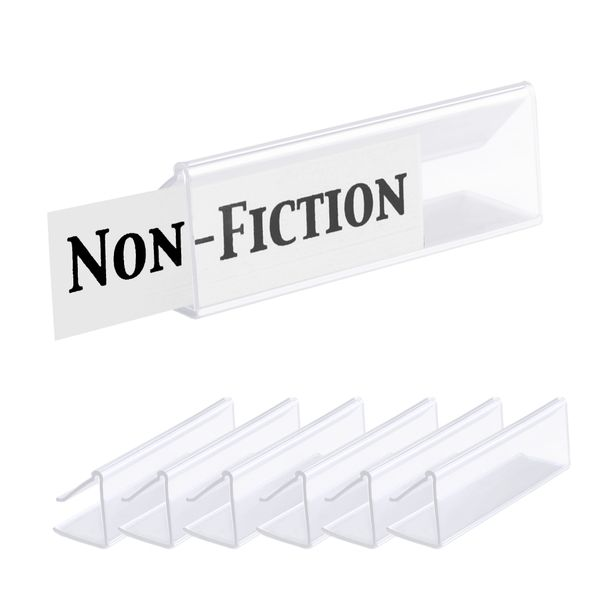 "Pack of 25 – Clear Plastic Shelf Label Holder, Wood Shelf Sign and Ticket Holder, Clips On to Shelves 5/8"" to 3/4"" Thick - Length of Label Area, 3"" X Height of Label Area, 7/8"""