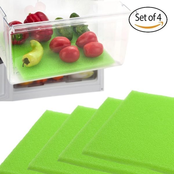 Fruit Veggie & Produce Life Extender Liner for Refrigerator Drawers, 4 Pack …
