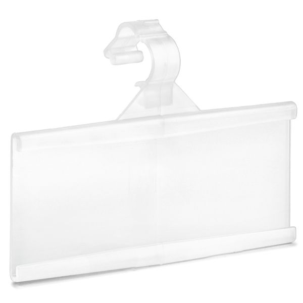 "Pack of 100 – Plastic Wire Shelf Label Holder, Sign and Ticket Holder, Easy Clip Design with Tight Snap Lock Closure. Height, 1-1/4"" X Width, 3"""