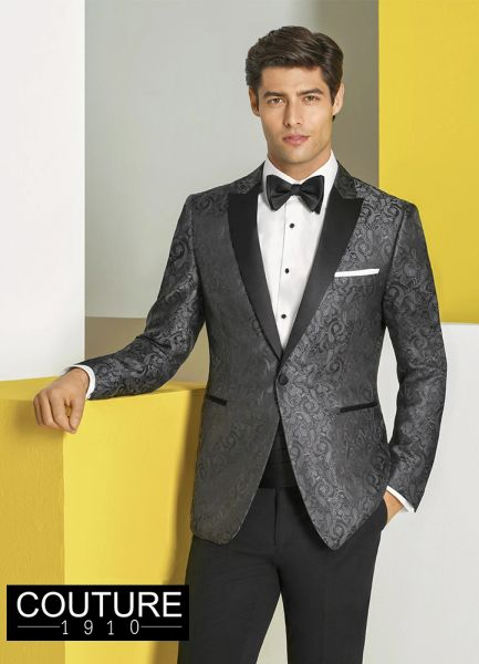 "COUTURE 1910 CHARCOAL PAISLEY ""CHASE"" TUXEDO C1049"