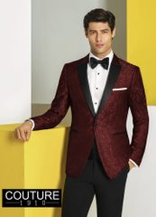 COUTURE 1901 BURGUNDY PAISLEY 'CHASE' TUXEDO C1047 APRIL
