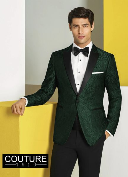 COUTURE 1910 GREEN PAISLEY 'CHASE' TUXEDO C1046