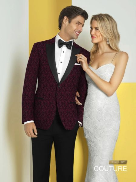 COUTURE 1910 BURGUNDY PAISLEY 'CHASE' TUXEDO N047