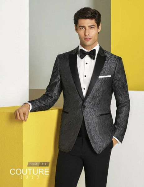 """COUTURE 1910 CHARCOAL PAISLEY """"CHASE"""" TUXEDO N049"""