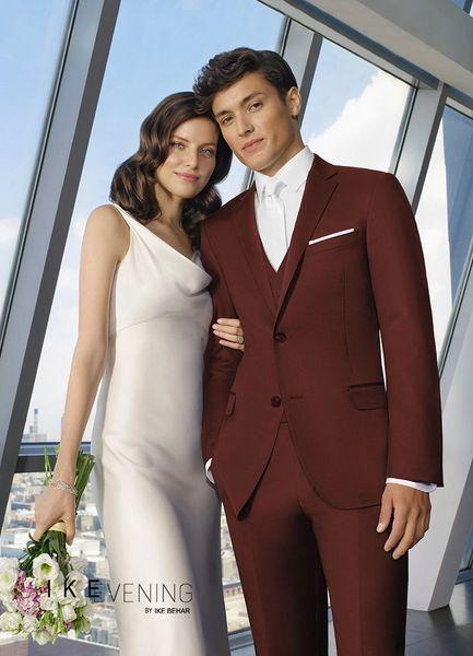 Ike Behar Burgundy 'Colton' Suit N060