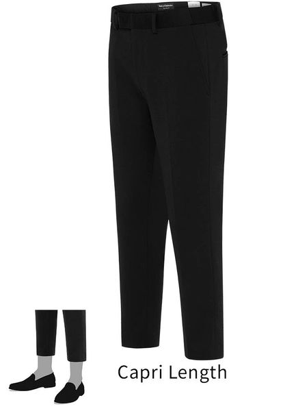 EURO-SLIM KNIT STRETCH BLACK PANT 6602