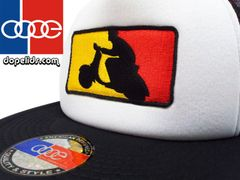 "smartpatches ""German Scooter"" Vintage Style Vespa Trucker Hat (Black/White Hat)"