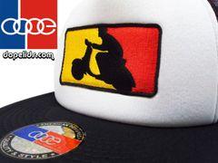 "smartpatches ""German Scooter"" Vintage Style Vespa Trucker Hat (Black/White Hat)"