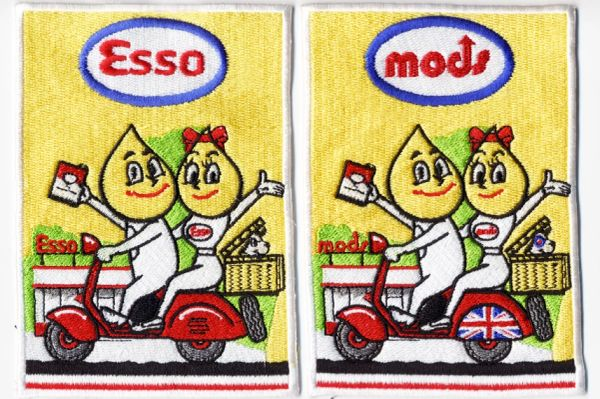 Vintage Style ESSO Vespa Scooter Patch 9.5cm (wide)